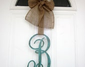 Single Letter Monogram Wooden Door Decor - 12 inches