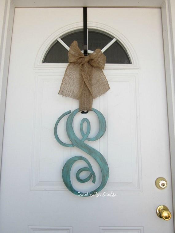 items similar to single letter monogram wooden door decor With single letter monogram for front door