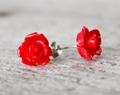 Red rose earrings - nature inspired jewelry - flower earrings - rose studs - red earrings - red jewelry - bridesmaid gift - stud earrings