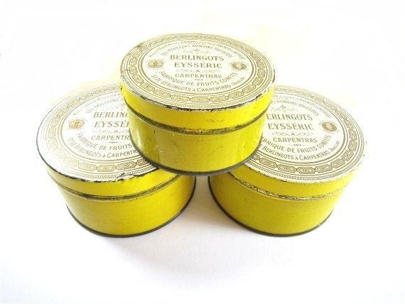 Vintage Tin Box Decorative Gift Boxes Metal Tin Box French Tin Box Candy Yellow White