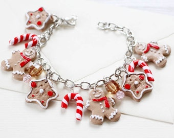 Ginger Bread man Bracelet  - Christmas jewelry - Charming Bracelet