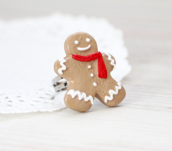Ginger Bread man Ring - Christmas jewelry