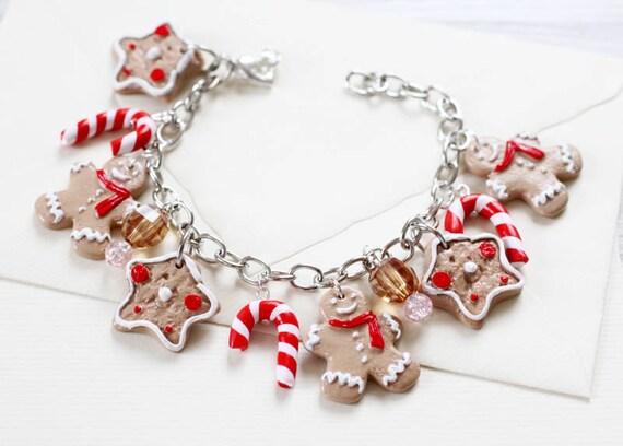 Ginger Bread man Bracelet  - Christmas jewelry - Charming Bracelet