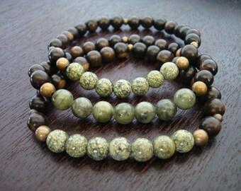 Men's Protection & Prosperity Mala Bracelet Stack // Jade and Serpentine Mala Bracelets Set // Yoga, Buddhist, Prayer Beads, Jewelry
