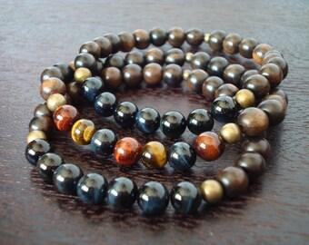 Men's Blue Tiger's Eye Mala Bracelet Set // Mixed Tiger Eye & Ebony Mala Bracelets // Yoga, Buddhist, Meditation, Prayer Beads, Jewelry