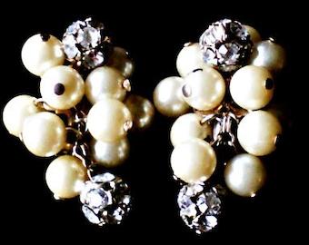 Vintage 40s Pearl and Rhinestone Earrings