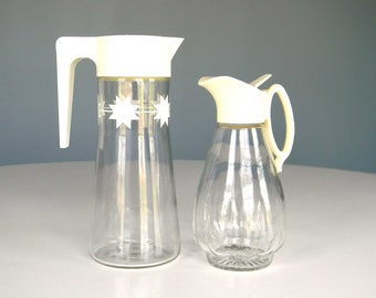 Vintage Pitcher Carafe Juice Syrup Glass Mid Century Starburst Cream Set Breakfast
