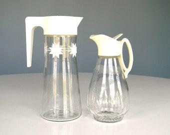Vintage Pitcher Carafe Juice Syrup Glass Mid Century Starburst Cream Set Breakfast