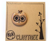 Brown Owl Charm - Polymer Clay Owl - Painted Polymer Clay Charm