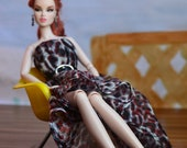 Sheer Animal Print Evening Dress with Asymmetrical Hem - Doll Fashions by AtelierniSHASHA