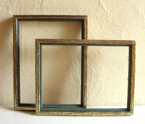 SALE Matching Pair of Vintage Picture Frames Faux Bois and Forest Green
