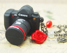 4gb usb flash drive - mini Dslr camera charm necklace or keychain for men, geekery, useful gift, chic geek