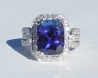 Natural 6.68 CT Tanzanite and Diamond Engagement ring Solid 18kt Gold W/ Appraisal