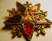 Reserved for Cynthia Gorgeous Vintage Stained Glass Star Pin and Fleur-de-lis designs, Vintage Pin, Stunning rare piece