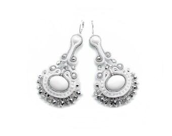 Soutache wedding bride statement earrings - elegant, classy and unusual - SNOW QUEEN