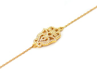 Free Domestic Shipping Sterling Silver Gold Color Hamsa Bracelet Hamsa, Gold, CZ, Filigree, Unique, Vintage, Antique, Style, Bracelet