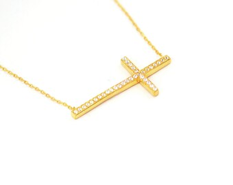 Free Domestic Shipping Sterling Silver Gold Color Sideways Cross Necklace CZ, Gold, Religious, Cross, Modern, Contemporary, Design, Gifts