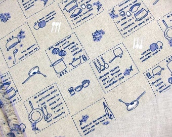 LF042 - Linen Cotton Blended Fabric - Cooking   - 1/2  yard