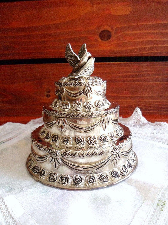 Silver Wedding Cake Keepsake Box Three Tier by MountainThyme1