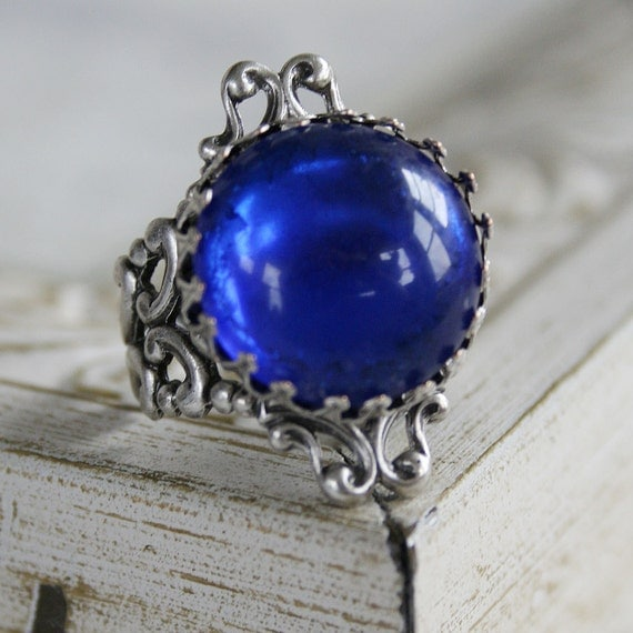 BLUE MOON Victorian fantasy cocktail ring with vintage glass focal and antiqued silver details, free gift boxing