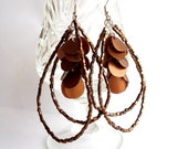 Chandelier recycled earrings copper tone upcycled jewelry eco friendly autumn fall