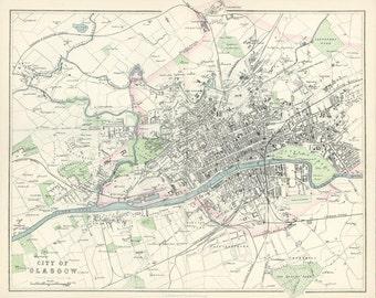 Glasgow  1865. Antique Scottish City Map of Glasgow by G.H.Swanston - MAP PRINT