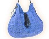 Batik Printed Cotton with Genuine Leather Bag / Purple Batik Bag /