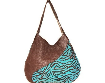 Handmade Reversible Bag / Turquoise Quilted Zebra Printed Cotton with 100% Genuine Sheepskin Leather