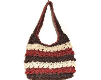 Handmade Red and Brown Tone Bands Crochet Shoulder Bag
