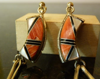 SALE Vintage Silver Earrings with Spiny Oyster Shell or Coral Mother of Pearl and Onyx Mosaic