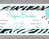 School Envelopes for Kids - Set of 10 Personalized -  Zebra print with teal flowers