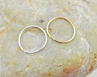 Set of Two Nose Rings, 24 Gauge Nose Hoops, Argentium Silver, 14K Gold Filled, Thin Cartilage Hoop, Helix Piercing, Vancouver Canada