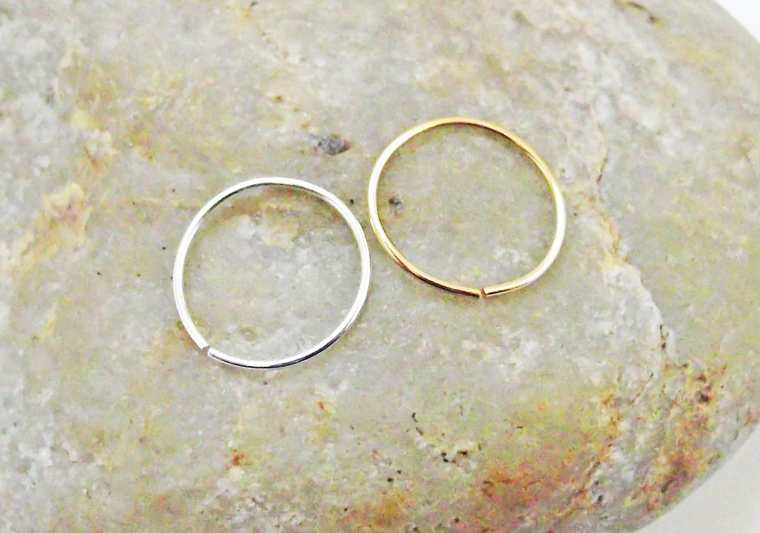 nose rings set of two silver 14k gold filled thin 24