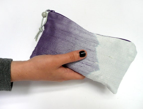 Ombre silk clutch purse, deep and pale purple and pale green ombre dyed silk dupion clutch purse with leather tassel