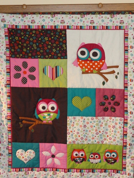 Hearts, Flowers and OWLS Baby Quilt for girls.  Gorgeous bright colors, PINK, turquoise, green and brown