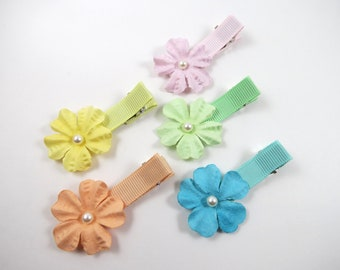 Small Hair Clip Set - Blue Pink Yellow Peach Green Hair Bows - Hair Bow Gift Set - Toddler Child Adult Hair Clips