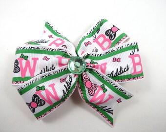Pink and Green Hair Bow - Bow Addict Hair Bow - Pinwheel Hair Bow - Pin Hair Clip - Green Hair Clip - Kids Girls Hair Accessories
