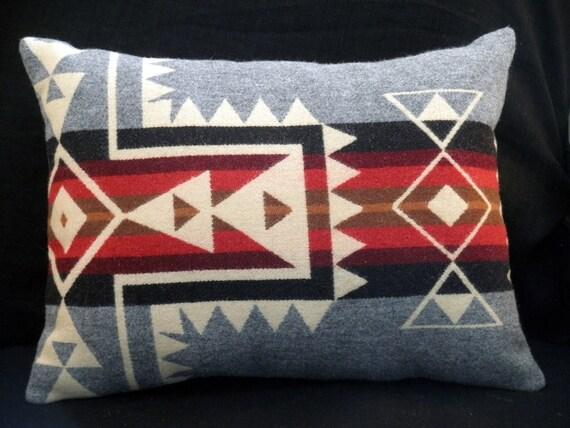 Pendleton pillow, handmade modern graphic Native American pattern in wool heather grey, cream, red, black, 18 x 14