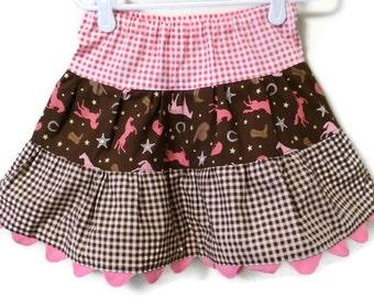 Cowgirl Skirt, Toddler Skirt, Western Skirt, Girl Skirt, Pink Gingham Skirt, Skirt, Brown Gingham Skirt,Twirl Skirt, Handmade Skirt