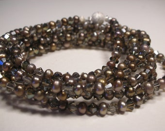 Cultured Pearl and Swarovski Crystal Necklace
