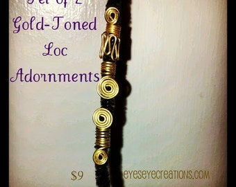 Set of 2 Gold-Toned Loc Adornmens