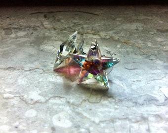 earstuds stars crystal ab Swarovski - earrings, stunning light ,swarovski stars crystal ab - handmade