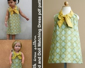 Sara Kid and Doll Matching Dress - PDF Pattern, PDF Downloadable, Easy Pattern