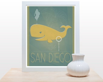 San Diego Whale - Print movie film poster inspired yellow funny humorous teal aqua art minimal modern office decor humor whale