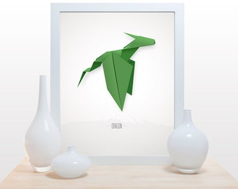 Origami Dragon Print - Poster modern decor wall poster art paper folding japanese dragon magical mythological creature asian inspired green
