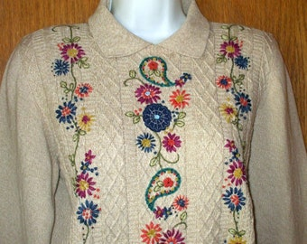 Embroidered Sweater Beige Floral Collared Pullover Flowers and Beaded size M Vintage 1980s