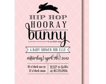 Vintage Bunny Baby Shower Invitation