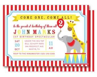 Circus Birthday Invitation, Carnival Invitations, Under the Big Top Invitations, Elephant and Giraffe, Printable or Printed