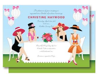 Garden Bridal Shower Invitation, Champagne Brunch Big Hat Wedding Shower Invitations, Kentucky Derby Party, Printable or Printed