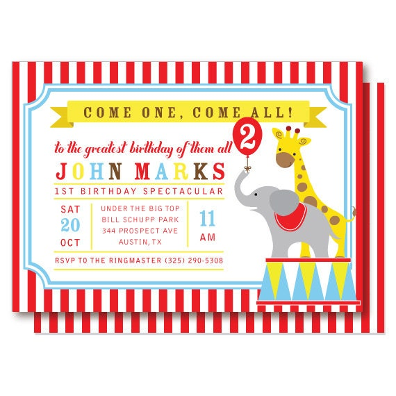 circus birthday invitation carnival invitations by delightpaperie, Birthday invitations